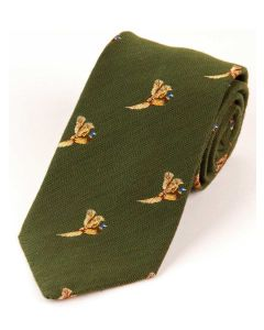 Atkinsons 'Flying Pheasant' Wool & Silk Tie - Green