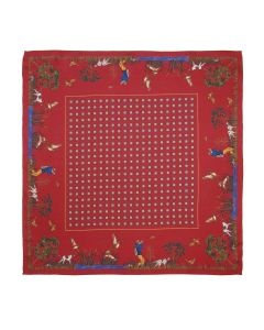 Atkinsons  Shooting Scene Silk Pocket Square - Wine
