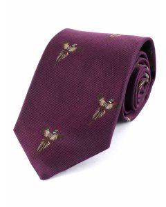 Atkinsons 'Soaring Pheasant' Silk Tie - Bilberry