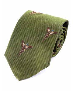 Atkinsons 'Soaring Pheasant' Silk Tie - Green