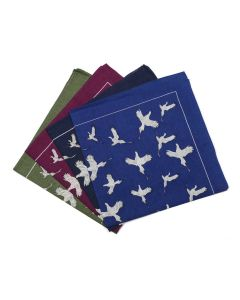 Pure Cotton Pheasant Print Hankies - Royal Blue, Navy, Purple & Olive