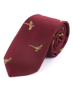 Atkinsons Child's 'Pheasant' Tie - Burgundy
