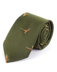 Atkinsons Child's 'Pheasant' Tie - Olive