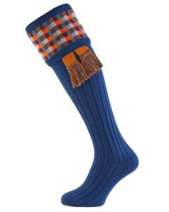 Blue Ashton Shooting Socks with Garter Set