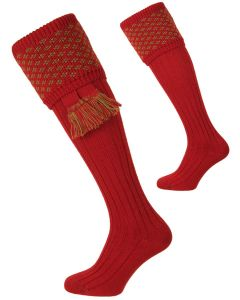 Brick Red and Moss Boughton Shooting Sock from The House of Cheviot