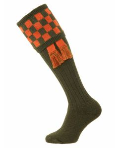 The Bowmore Mk 2 Cushion Foot Shooting Sock - Spruce & Burnt Orange