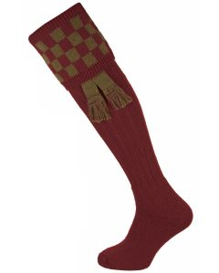 The Bowmore MK2 'Burgundy & Bracken' Cushion Foot Shooting Sock
