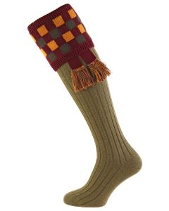 Dark Olive with Burgundy Shooting Socks with Garter