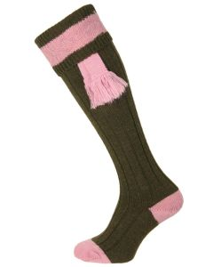 The Byron Shooting Sock, Olive & Pink