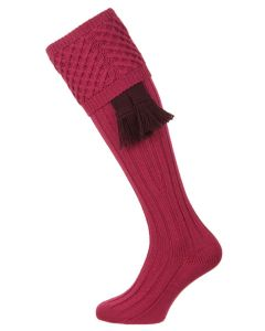 Pennine Chelsea Shooting Sock, Raspberry with optional Plum Garter