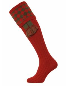 The Chessboard Shooting Sock - Brick Red & Spruce - Medium