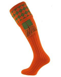 Chessboard Burnt Orange with Ivy Green Shooting Socks