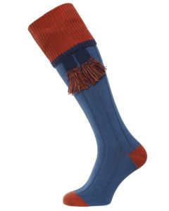 The Cobnash 'Oxford Blue & Terracotta' Cotton Shooting Sock