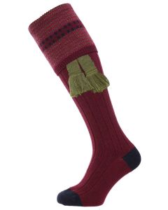 The Cumbrian Merino Wool Shooting Sock - Burgundy