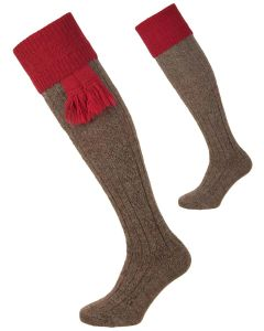 The Pennine Defender Shooting Sock, Derby Tweed and Cherry