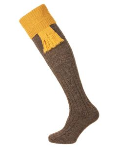 The Pennine Defender Shooting Sock, Derby Tweed and Pollen
