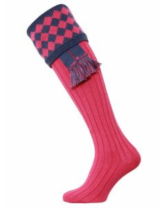 The Fownhope Shooting Sock with Garter - Dusky Pink & Cornflower