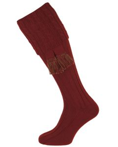 The Harris Burgundy Cable Shooting Sock