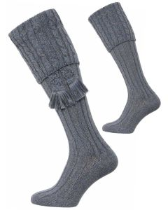 The Harris Marl Cable Shooting Sock - Blue Lovat Marl