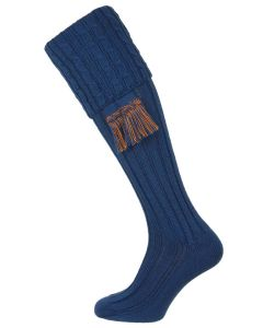 The Harris Mid Blue Cable Shooting Stocking