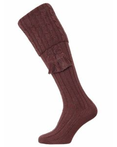 The Harris Marl Cable Shooting Sock, Sloeberry Marl