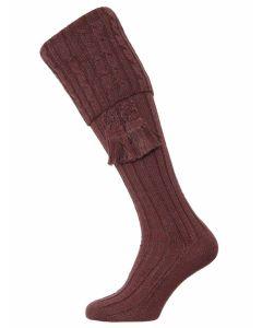 The Harris Marl Cable Shooting Sock, Sloeberry Marl