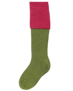 The Junior Lomond Childrens Shooting Sock - Moss Green & Dusky Pink