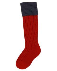 The Junior Lomond Brick Red & Navy Children's Shooting Sock