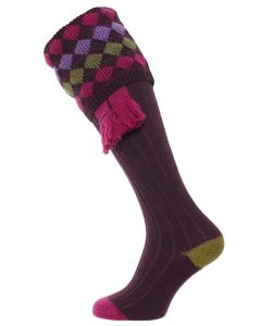The Kendal Merino Wool Shooting Sock - Plum