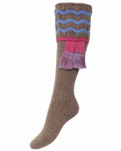 The Lady Grafton Shooting Sock with Garter - Bison