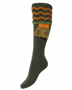 The Lady Grafton Shooting Sock with Garter - Spruce