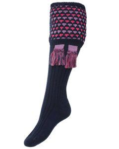 The Lady Honeycomb Shooting Sock & Garter - Navy