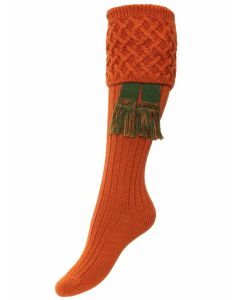 The Lady Rannoch Shooting Sock - Burnt Orange