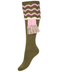 Olive Green Ladies Grafton Shooting Sock with Garter