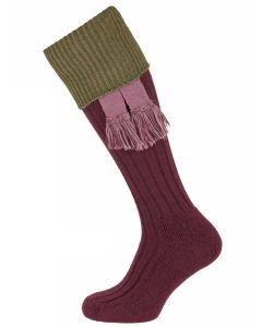 The Lintridge 'Fig with Fern Green' Merino Shooting Sock