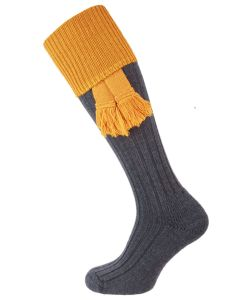 The Lintridge 'Prussian Blue & Turmeric' Merino Shooting Sock