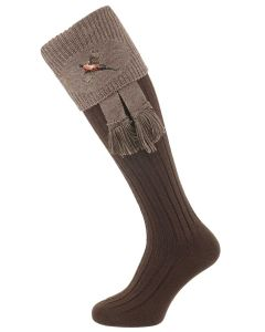 The Lomond Shooting Sock with Embroidery, Dark Natural & Bison