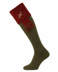The Lomond Shooting Sock with Pheasant Embroidery - Spruce & Burgundy