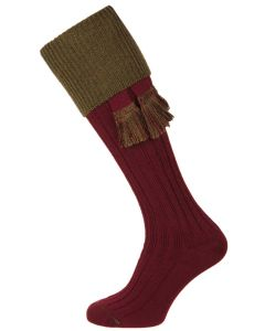 The Lomond Shooting Sock. Burgundy & Bracken