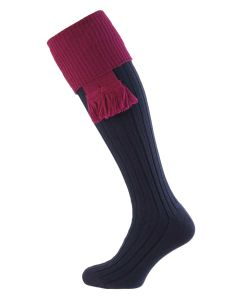 Navy Blue with Bilberry, Lomond Wool Shooting Sock