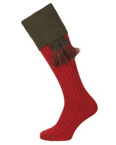 The Lomond Shooting Sock, Brick Red & Spruce