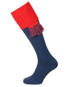 The Lomond Shooting Sock, Mid Blue & Military Red