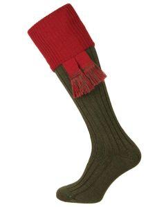 The Lomond Shooting Sock, Spruce & Brick Red