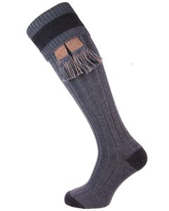 The Marlbrook Prussian Blue & Navy Merino Shooting Sock