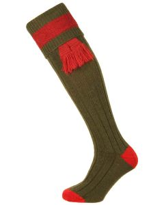 Pennine Byron Shooting Sock, Olive and Ruby with optional garter