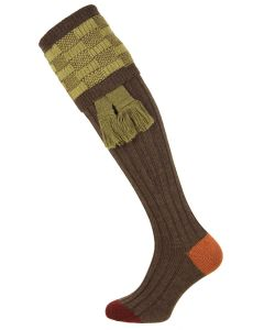The Dover Shooting Sock, Mocha with Sage