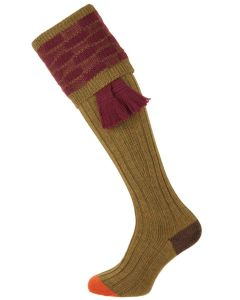 The Dover Shooting Sock, Sage & Burgundy