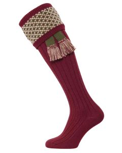 The Whitley Shooting Sock with Garter - Burgundy