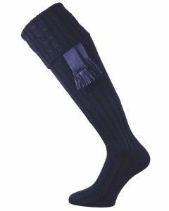 Harris Cable Knit Shooting Sock - Navy Blue