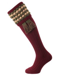 The Angus Shooting Sock, Burgundy with Bracken